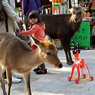 Little girl and toy – Nara, Japan by Joumana Medlej