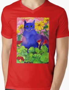 Sunset Cat Mens V-Neck T-Shirt