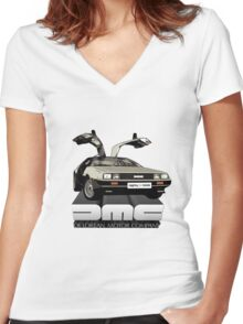 DeLorean Tee Shirt Women's Fitted V-Neck T-Shirt