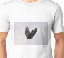 African fish eagle flying with wings raised Unisex T-Shirt