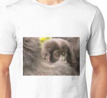 Baby gorilla looks over shoulder of mother Unisex T-Shirt