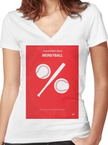 No191 My Moneyball minimal movie poster Women's Fitted V-Neck T-Shirt