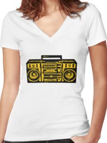 Tape recorder Women's Fitted V-Neck T-Shirt