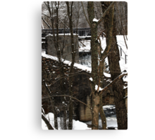 Old water-mill in winter time Canvas Print