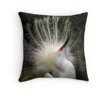 Snowy Egret Show Off 3 Throw Pillow