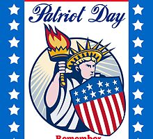 Statue of Liberty with Torch American Flag Shield  by patrimonio