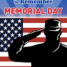 American soldier saluting flag Memorial Day card by patrimonio