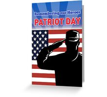 American soldier saluting flag Patriot Day card  Greeting Card