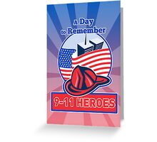 9-11 Patriot Day Firefighter American Flag  Greeting Card