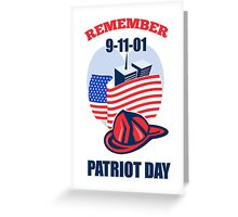 9-11 Patriot day Firefighter Fireman American Flag  Greeting Card