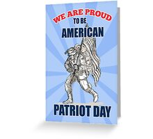 American soldier serviceman carry flag Patriot Day Greeting Card