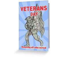 Veterans Day American soldier serviceman  flag  Greeting Card