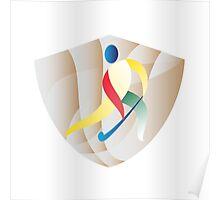 Field Hockey Player Shield Retro Poster