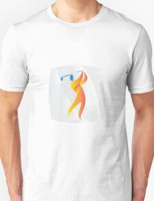 Golfer Teeing Off Golf Square Retro T-Shirt