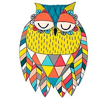 Aztec Owl Illustration Photographic Print