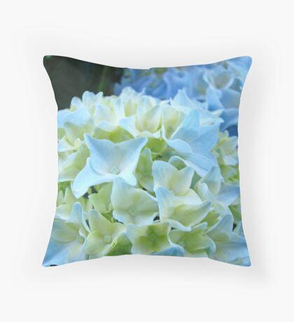 Beautiful Blue White Hydrangea Flower art prints Baslee Troutman Throw Pillow