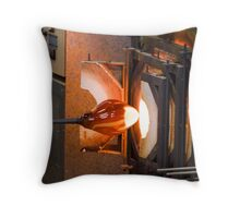 A glassblower at work Throw Pillow