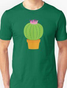 Single green round flowering cactus Unisex T-Shirt