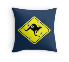 Kangaroo Crossing Sign (bullet Holes) Throw Pillow