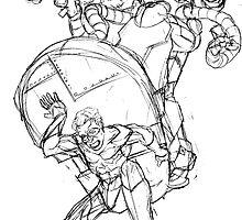 Hero Vs Giant Robot by Michael Lee