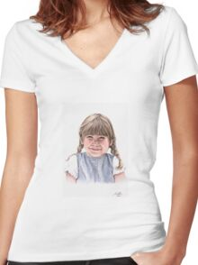 Sweet Little Girl Portrait Women's Fitted V-Neck T-Shirt