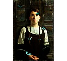 Girl with Blue Butterflies Photographic Print