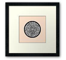 Modern Black & White Scribbles Circle Framed Print