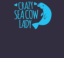Crazy Sea Cow Lady Womens Fitted T-Shirt