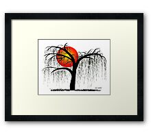 Weeping Willow Tree at Sunset Framed Print