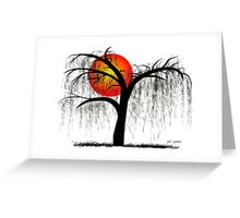 Weeping Willow Tree at Sunset Greeting Card