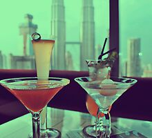 Kuala Lumpur Skyline Cocktails Foreground by Forstar Photography