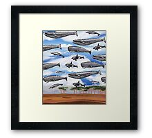 Dreaming of Whales in the Desert (Carnivalesque Collage Series) Framed Print
