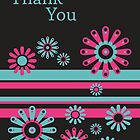 Sorbet floral 30 - thank you card by 1001cards