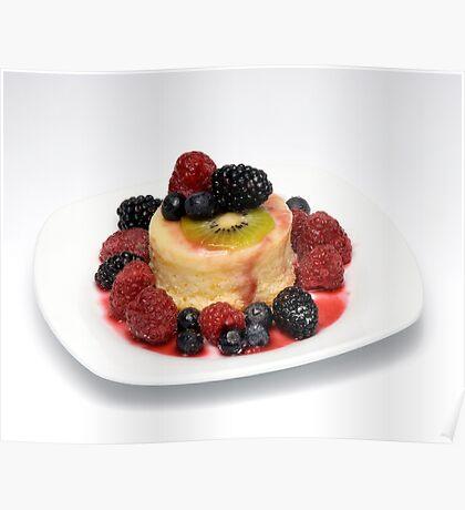 Orange Pudding cake w/ Seasonal Berries Poster