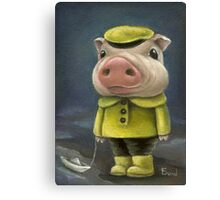 Peter the pig sailing his boat Canvas Print