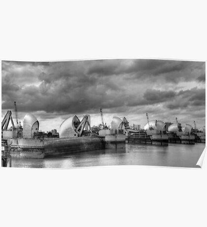 Storm Clouds Over Thames Barrier Poster