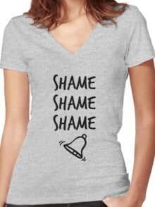 Shame. Shame. Shame. (ring) Women's Fitted V-Neck T-Shirt
