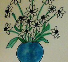 Blue Vase with White  Daiseys, watercolor by Anna  Lewis