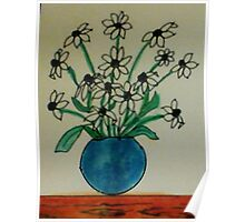 Blue Vase with White  Daiseys, watercolor Poster