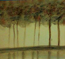 Misty Trees Reflected in Water,,,watercolor by Anna  Lewis