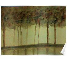 Misty Trees Reflected in Water,,,watercolor Poster