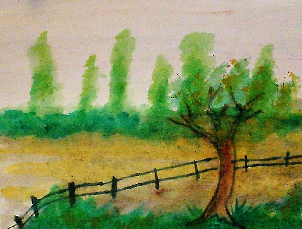 Misty Trees in backround, with fence, watercolor by Anna  Lewis, blind artist