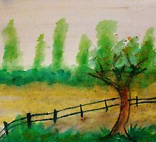 Misty Trees in backround, with fence, watercolor by Anna  Lewis
