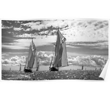 Racing On Open Waters B&W Poster