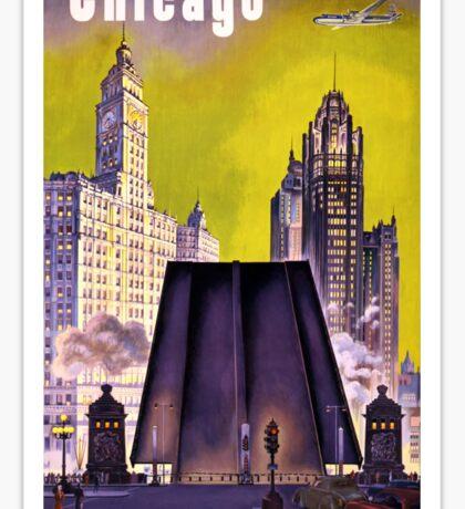 Chicago Vintage Travel Poster Restored Sticker