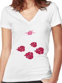 Akatsuki Clouds geek funny nerd Women's Fitted V-Neck T-Shirt
