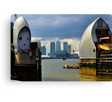 Canary Wharf & O2 Arena From Thames Barrier Canvas Print