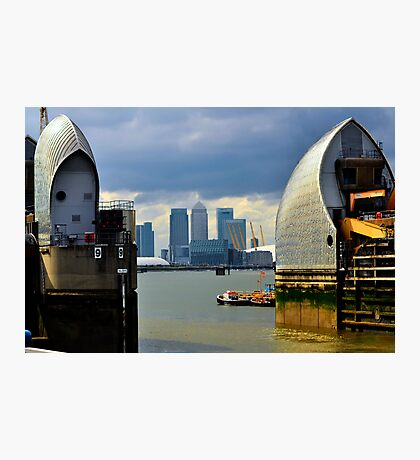 Canary Wharf & O2 Arena From Thames Barrier Photographic Print