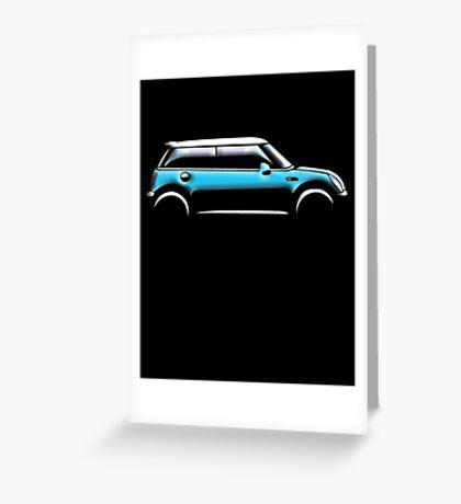 MINI, CAR, BLUE, BMW, BRITISH ICON, BRITAIN, UK, MOTORCAR Greeting Card