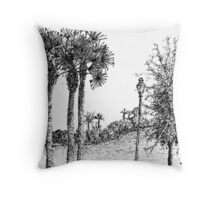 Lamp Posts in the Park Throw Pillow